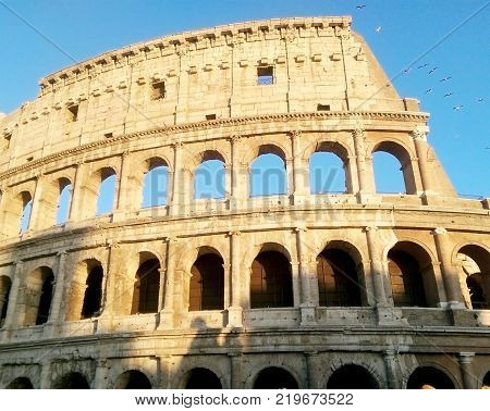 A famous Historical gladiators Coliseum in Rome Italy