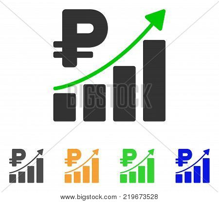 Rouble Growth Trend icon. Vector illustration style is a flat iconic rouble growth trend symbol with gray, green, blue, yellow color variants. Designed for web and software interfaces.