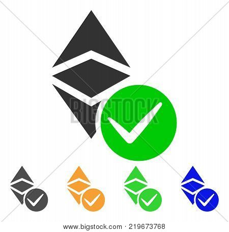 Valid Ethereum Classic icon. Vector illustration style is a flat iconic valid ethereum classic symbol with gray, green, blue, yellow color variants. Designed for web and software interfaces.