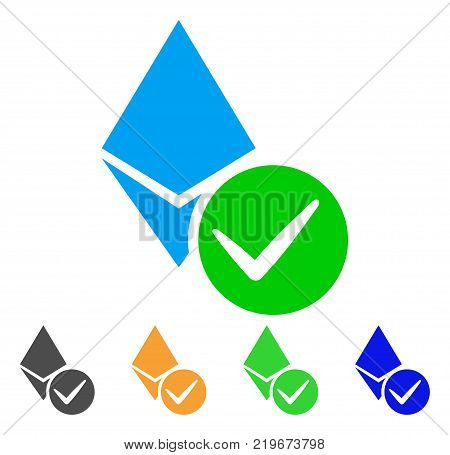 Valid Ethereum Crystal icon. Vector illustration style is a flat iconic valid ethereum crystal symbol with grey, green, blue, yellow color variants. Designed for web and software interfaces. poster