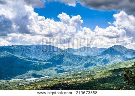 The Chatyr Dah mountain in Crimea, Russia. Beautiful landscape near tourist town of Alushta the south coast of Crimea.