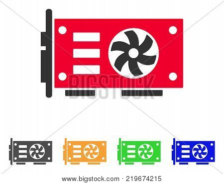 Video Graphics Gpu Card icon. Vector illustration style is a flat iconic video graphics gpu card symbol with gray, green, blue, yellow color variants. Designed for web and software interfaces.