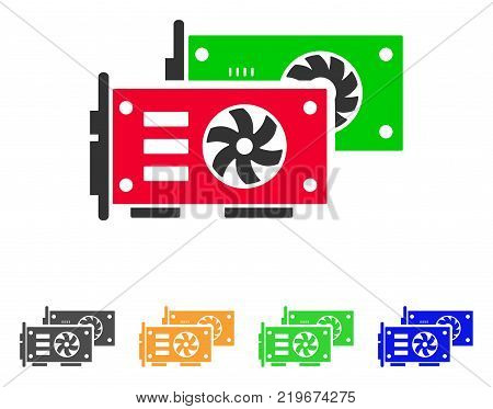 Video Graphics Gpu Cards icon. Vector illustration style is a flat iconic video graphics gpu cards symbol with grey, green, blue, yellow color variants. Designed for web and software interfaces.