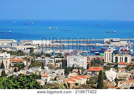 View of Haifa port cityscape and coast of Haifa, Israel
