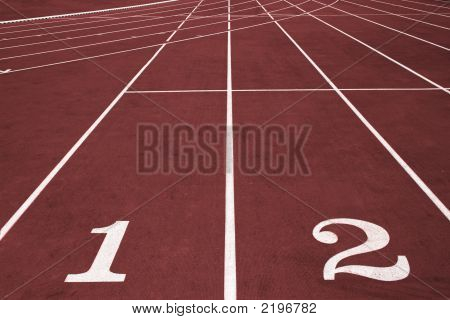 Running lanes with numbers on the stadium. poster