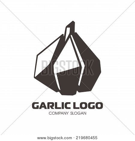 Garlic logo in flat style. Isolated object. Garlic icon. Vegetable from the garden. Organic food. Vector illustration