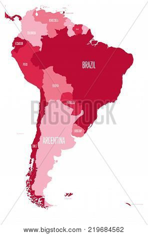 Political map of South America. Simple flat vector map with country name labels in four shades of maroon.