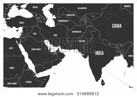 Political map of South Asia and Middle East countries. Simple flat vector map in grey.