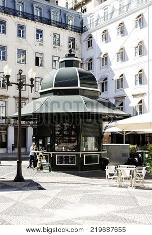 LISBON - September 25, 2017: Small traditional kiosk selling coffee and light meals at Municipal Square Lisbon Portugal