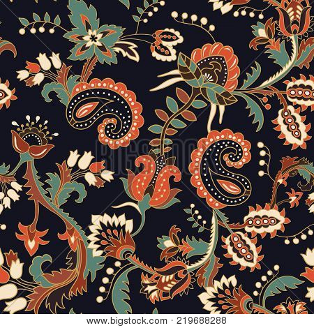 Seamless Paisley background, floral pattern. Colorful ornamental background for web, textile