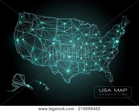 Abstract Telecommunication map of USA - abstract technology background - vector illustration - glowing blue lines on a dark background - futuristic USA map technology background
