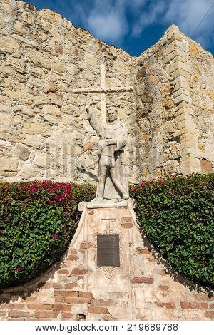 SAN JUAN CAPISTRANO, CALIFORNIA - 1 NOVEMBER 2017: Statue of Junipero Serra at San Juan Capistrano Mission in California