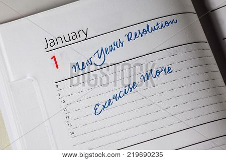 New Years Resolution in the diary, Exercise More