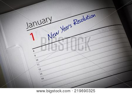 New Years Resolution Page in the diary