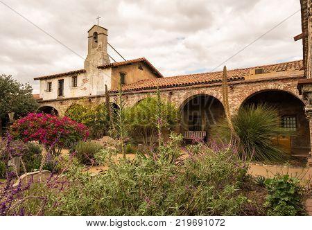 SAN JUAN CAPISTRANO, CALIFORNIA - 1 NOVEMBER 2017: Mission garden at San Juan Capistrano in California
