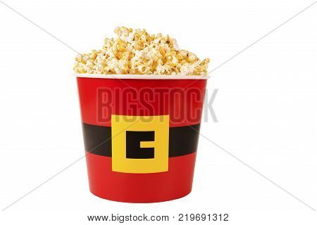 Christmas cardboard box of popcorn for cinema or TV. Isolated on white background.