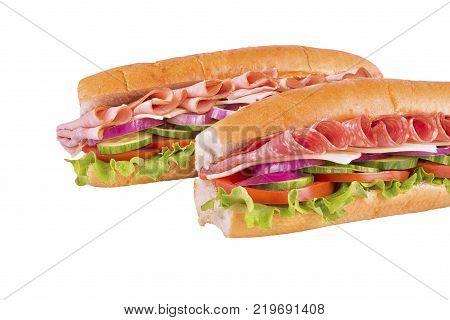 Duo of submarine sandwich isolated on white background.