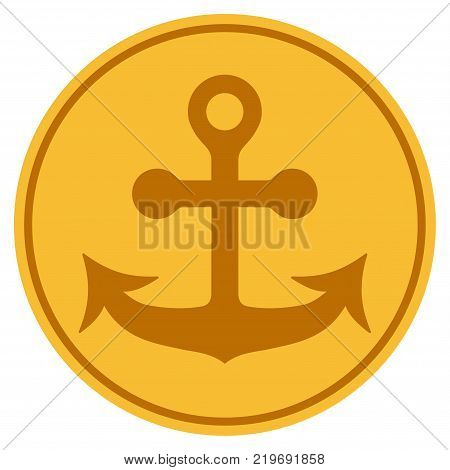 Anchor golden coin icon. Vector style is a gold yellow flat coin symbol.