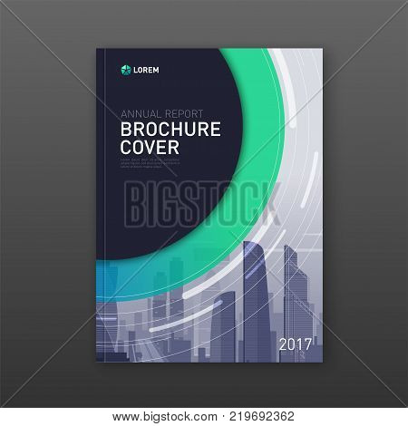 Business brochure cover design layout. Real estate brochure design with cityscape. Good for corporate catalog, annual report, poster or flyer.