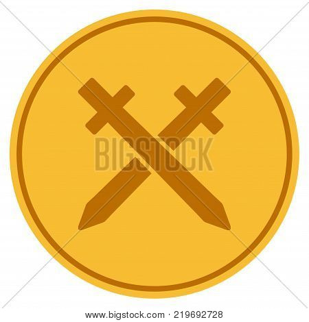 Crossing Swords golden coin icon. Vector style is a gold yellow flat coin symbol.