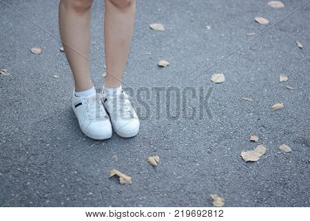 shoe and legs stand on street with barren leaf as background