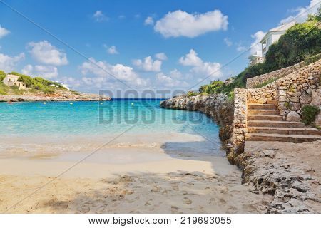 Beautiful sand beach bay of Cala Mandia. Porto Cristo. Mallorca island, Spain Mediterranean Sea, Balearic Islands.