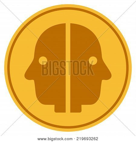 Dual Face golden coin icon. Vector style is a gold yellow flat coin symbol.