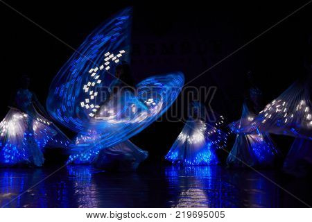 MOSCOW, RUSSIA - OCT 21, 2017: Group of dancers on stage of Luna Theatre during Gala Concert after 12th international festival of oriental dance ASSEMBLY 2017.