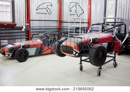 MOSCOW, RUSSIA - OCT 27, 2017: (PR) Racing cars ShortCuts  based on the legendary Lotus Seven in garage of DB 527 company.