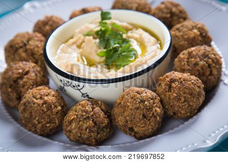 Falafel, middle eastern fried chickepa balls, popular fast food meal