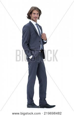 Full length of a fashion male model over white  background.