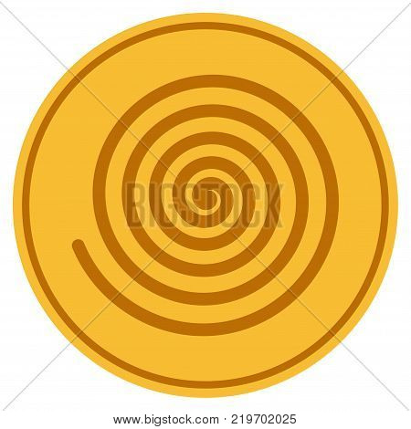 Hypnosis Spiral golden coin icon. Vector style is a gold yellow flat coin symbol.