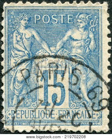 FRANCE - CIRCA 1892: A stamp printed in France shows an allegory of Peace and Commerce circa 1892