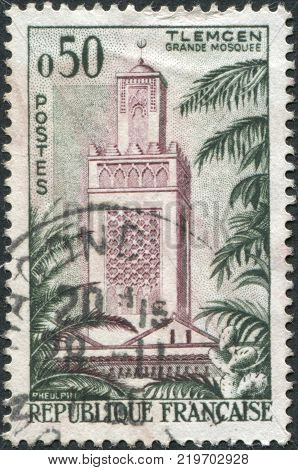 FRANCE - CIRCA 1960: A stamp printed in France shows the Great Mosque of Tlemcen circa 1960