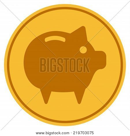 Piggy Bank golden coin icon. Vector style is a gold yellow flat coin symbol.