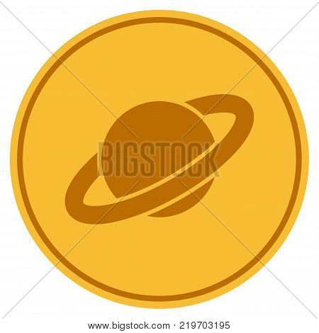 Planet Saturn golden coin icon. Vector style is a gold yellow flat coin symbol.