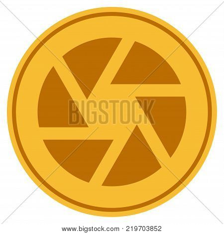 Shutter golden coin icon. Vector style is a gold yellow flat coin symbol.