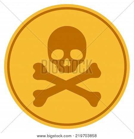 Skull And Crossbones golden coin icon. Vector style is a gold yellow flat coin symbol.