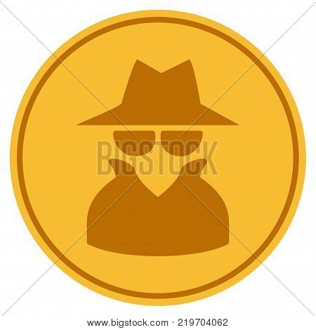 Spy golden coin icon. Vector style is a gold yellow flat coin symbol.