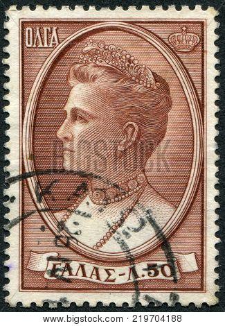 GREECE - CIRCA 1957: A stamp printed in Greece shows the Queen Olga of Greece circa 1957