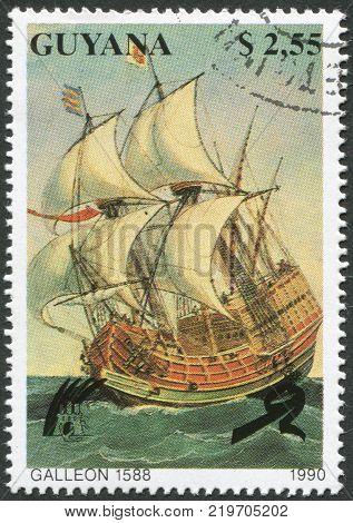 GUYANA - CIRCA 1990: A stamp printed in the Guyana represented Galleon 1588 circa 1990