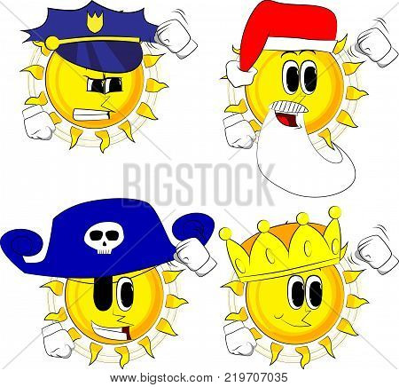 Cartoon sun threatening someone shakes his fist at viewer. Collection with costume. Expressions vector set.