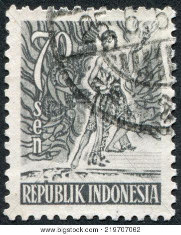 INDONESIA - CIRCA 1953: A stamp printed in the Indonesia shows the mythological hero circa 1953