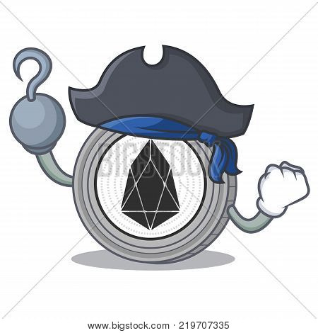 Pirate EOS coin character cartoon vector illustration