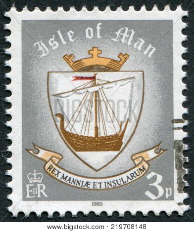 ISLE OF MAN - CIRCA 1979: A stamp printed in Isle of Man (British Crown Dependency) shows Viking ship (coat of arms of the island in 9th century) circa 1979