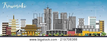 Kawasaki Japan City Skyline with Color Buildings and Blue Sky. Business Travel and Tourism Concept with Historic Architecture. Kawasaki Cityscape with Landmarks.