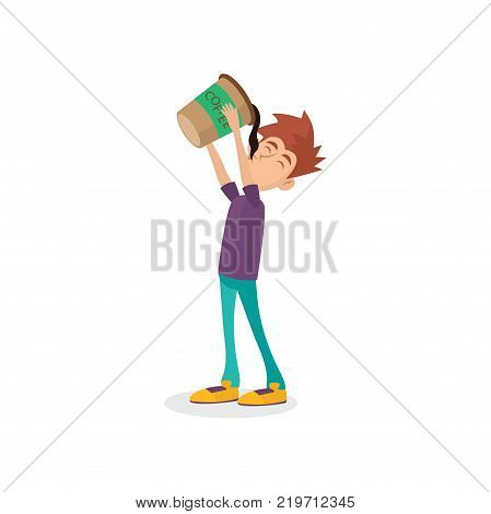 Cartoon male character drinking oversized cup of black coffee. Man with coffeemania. Caffeine addiction. Bad habit concept. Funny vector illustration in flat style isolated on white background. poster