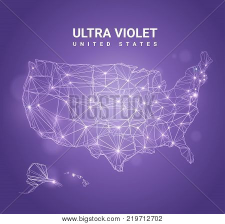 Ultra violet abstract map of USA - high quality abstract vector background