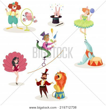 Characters in circus performers and animals in different actions. Carnival show concept. Collection of decorative elements for poster, ticket, flyer or invitation. Isolated flat vector illustration.