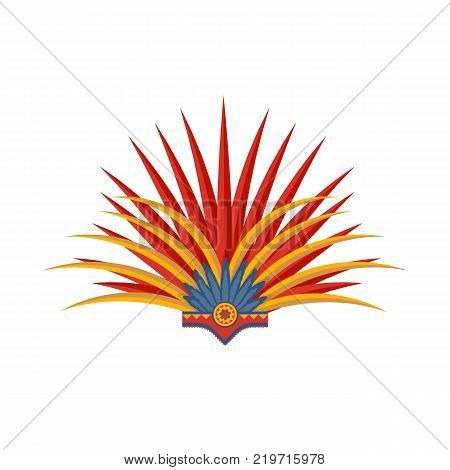Mexican beautiful women s carnival headdress with feather. Traditional hats and clothes for dance festival. Carnival is masquerade in Mexico City. Holiday with costumes, music. Vector illustration.